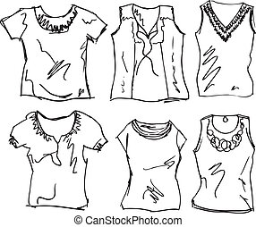 sketch of Women's t-shirt. Vector illustration
