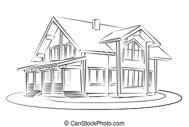 Sketch of wooden house. - Sketch of the big wooden house.