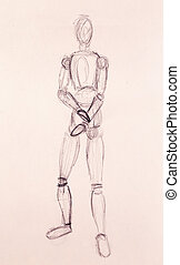 sketch of wooden posable drawing figure for artists on abstract background.