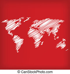 Sketch of world map on red  - vector illustration