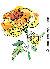 sketch of yellow rose on a white background