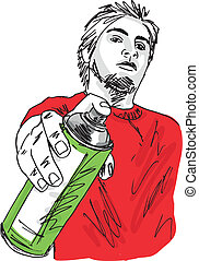 Sketch of young man with a tin of spray. Vector illustration