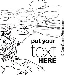 Sketch of young woman sitting on cliff's edge and looking to a sky with clouds. Vector illustration
