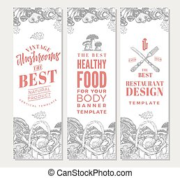 Sketch Organic Food Vertical Banners