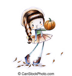 Sketch painted girl in hat and skirt with pumpkin in hand in autumn - illustration