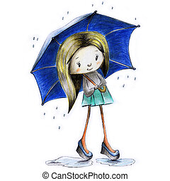 Sketch painted girl in the rain with an umbrella in hand in autumn - illustration