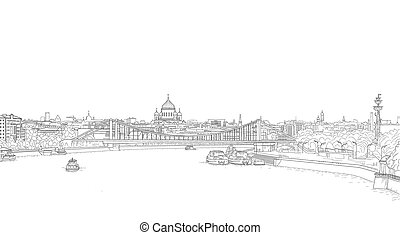 Moscow city panorama drawing with a view of the Cathedral of Christ the Savior