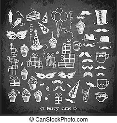 Sketch party objects hand-drawn on blackboard