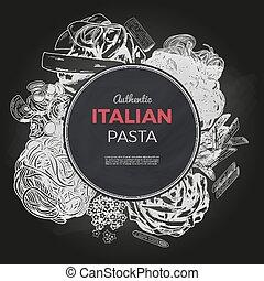 Sketch pasta banner, vector hand drawn illustration....
