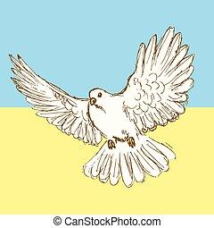 Sketch peace dove for Ukrainian war