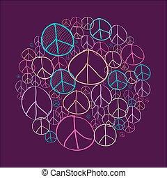 Sketch peace symbols circle shape compostion EPS10 file. -...