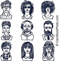 Sketch people portraits set