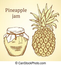 Sketch pineapple and jar in vintage style, vector