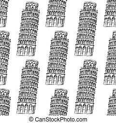 Sketch Pisa tower, vector seamless pattern - Sketch Pisa...