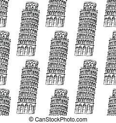 Sketch Pisa tower, vector seamless pattern