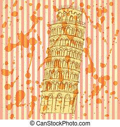 Sketch Pisa tower, vector vintage background