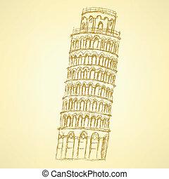 Sketch Pisa tower, vector vintage background eps 10