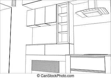Sketch plan kitchen in the wire
