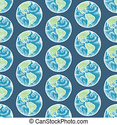 Sketch planet Earth in vintage style