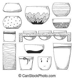 Sketch plant pots. Vector illustration of a sketch style.