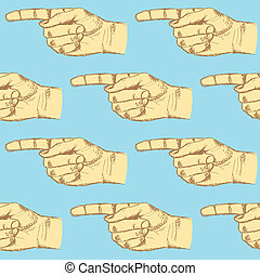 Sketch pointing hand, vector seamless pattern