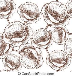 Sketch poppy, vector vintage seamless pattern