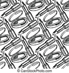 Sketch powder compact and lipstick, vintage seamless pattern