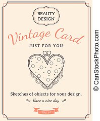 Sketch purse and text. - Vintage design for card or...