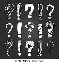 Sketch question and exclamation marks on blackboard