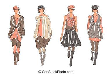 Sketch Retro Fashion Women Models