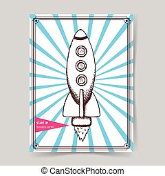 Sketch rocket in vintage style