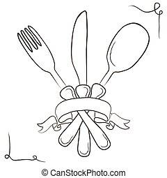 sketch., rocznik wina, set., nożownictwo, ilustracja, ręka, wektor, pociągnięty, illustration.