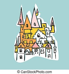 sketch Royal Castle with towers. Historical fantasy building. Vector illustration