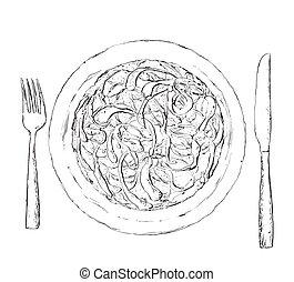 sketch., saláta táplálék, ábra, kéz, húzott