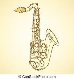 Sketch saxophone musical instrument