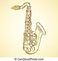 Sketch saxophone musical instrument