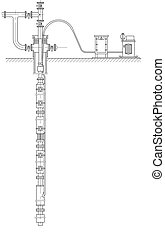 Schematic of an oil well - Sketch. Schematic of an oil well...