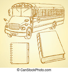 Sketch school bus, book and notebook