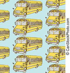 Sketch school bus in vintage style