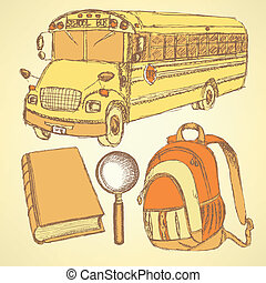 Sketch school bus, zoom, book and notebook