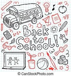 Sketch school items. Back to . Vector illustration.