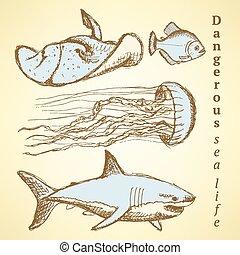 Sketch sea creatures in vintage style