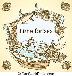 Sketch sea life in vintage style, vector