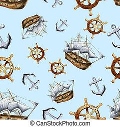 Sketch sea navigation seamless pattern