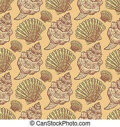 Sketch sea shell in vintage style