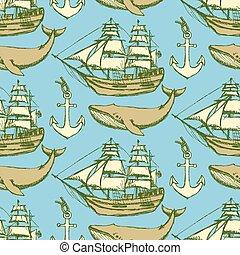 Sketch sea vintage style