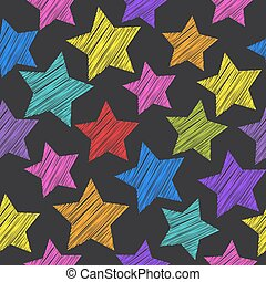 Sketch seamless pattern with stars. Red green orange pink lilac blue stars on black background. Vector