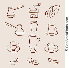Sketch set coffee design elements - vector