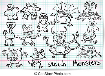 Sketch set of cartoon funny monster