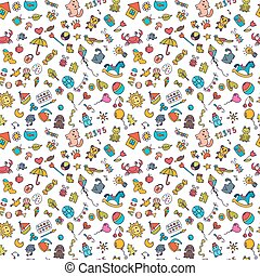 Sketch set of drawings in child style. Doodle children background. Seamless pattern for cute little girls and boys